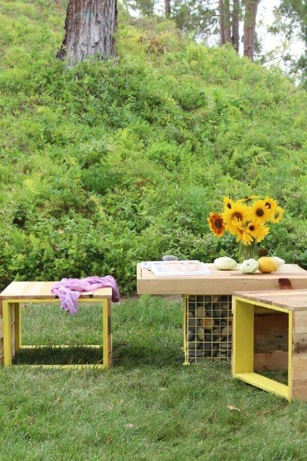 Bench And Gabion Table