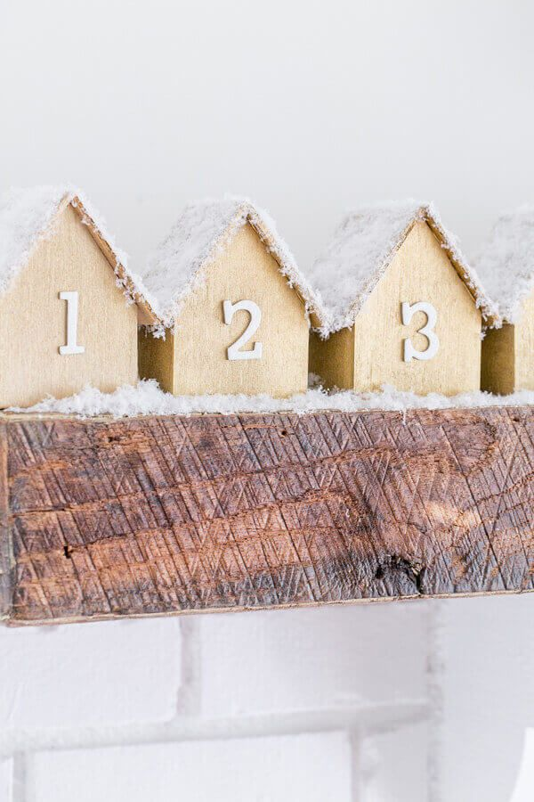 DIY Advent Calendar With Wooden Houses