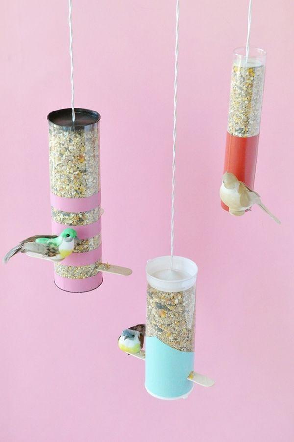 DIY Colorblock Bird Feeders