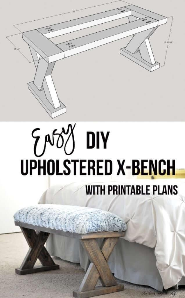 DIY Upholstered X Bench