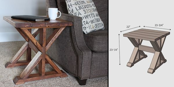 DIY Wooden X Side Table