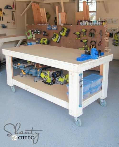 Two-Frame Workbench With Casters