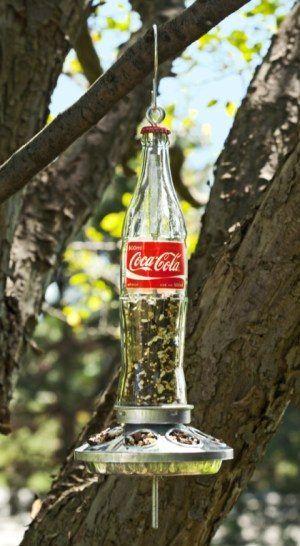 Glass Soda Bottle Bird Feeder