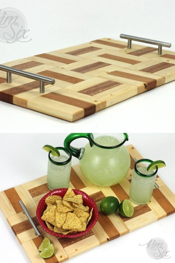 Mahogany And Cherry Wood Cutting Board Style Parquet Serving Tray