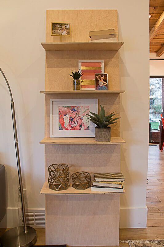 One-Shelf Plywood Leaning Shelf