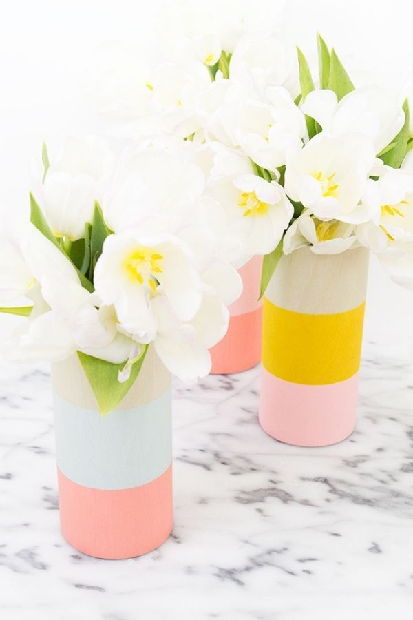 Color Blocked Wood Vases
