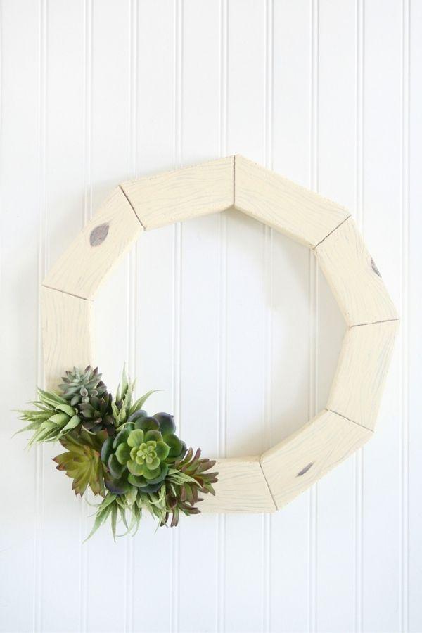 DIY Faux Wood Succulent Wreath