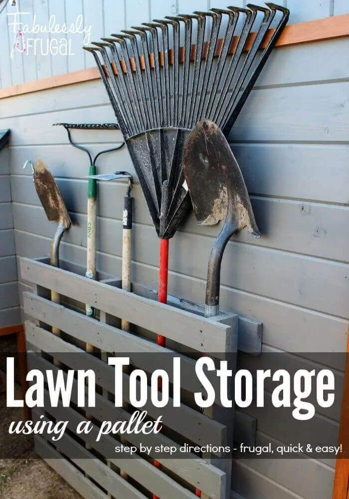 Lawn Tool Storage With A Pallet