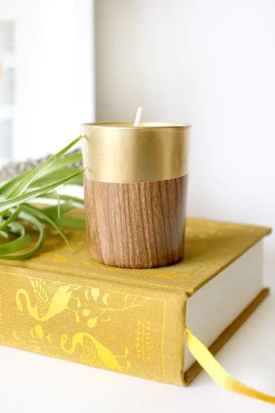 Retro DIY Faux Wood Candle Holder