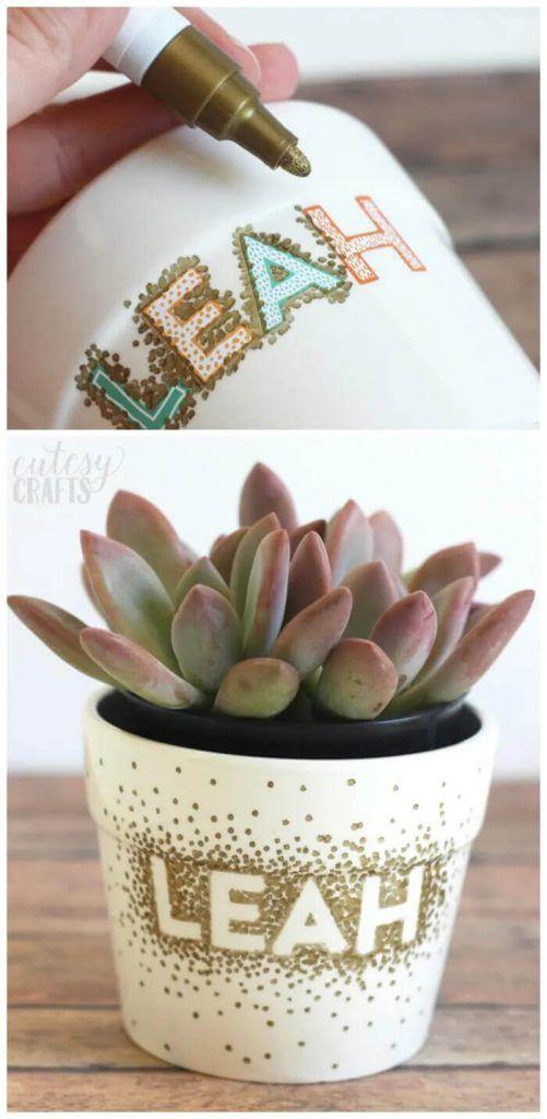 Sharpie Dot DIY Flower Pots