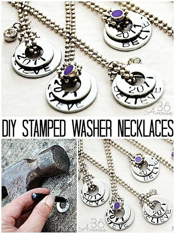 DIY Stamped Washer Necklaces