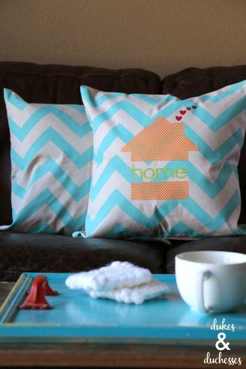 No Sew Appliqued Home Pillow