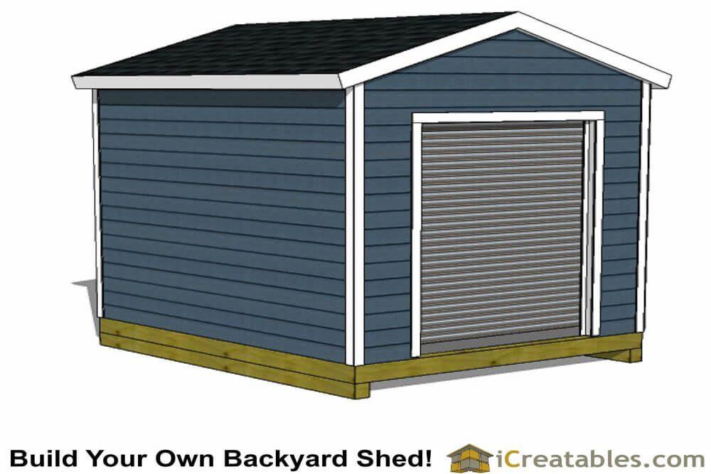 10x12 Garage Door Shed Plan