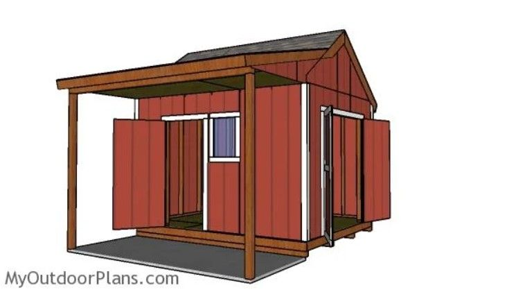 10x12 Shed With Side Porch