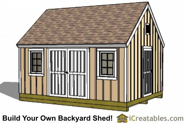 12x16 Colonial Large Shed Plan