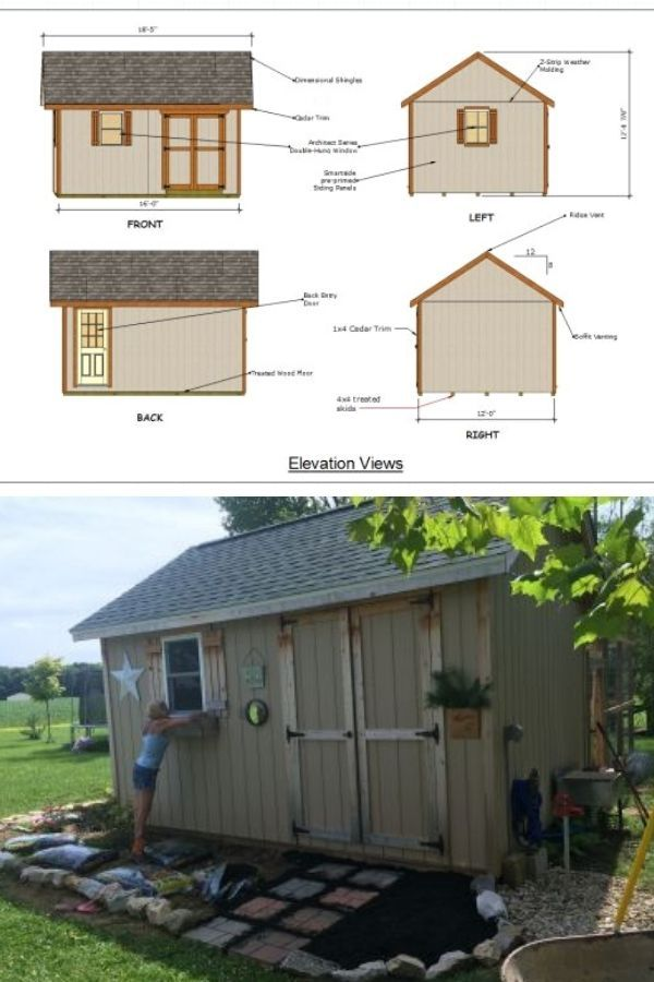 12x16 Garden DIY Shed Plans