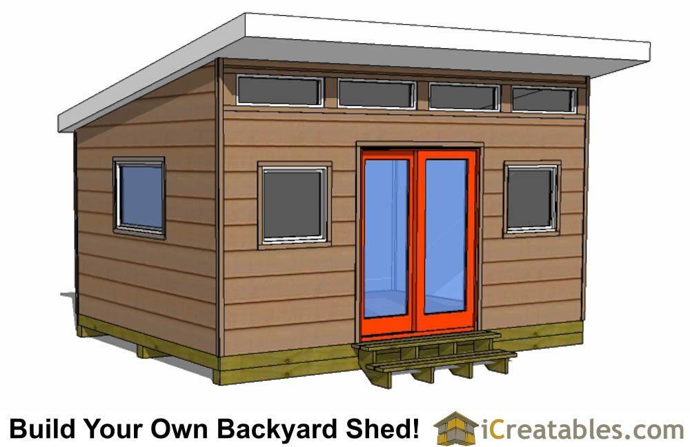 12x16 Modern Shed Plan