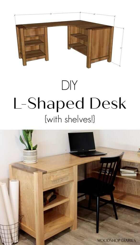 DIY L-Shaped Desk With Shelves