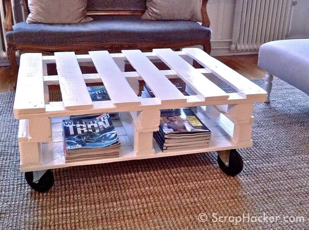 Double Pallets Portable Coffee Table