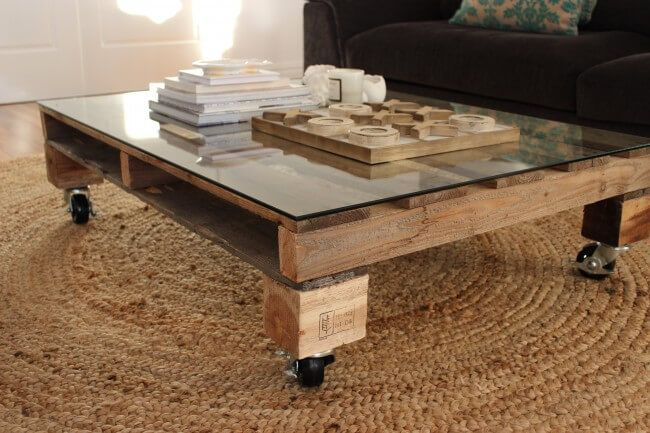 Glass & Pallet Coffee Table