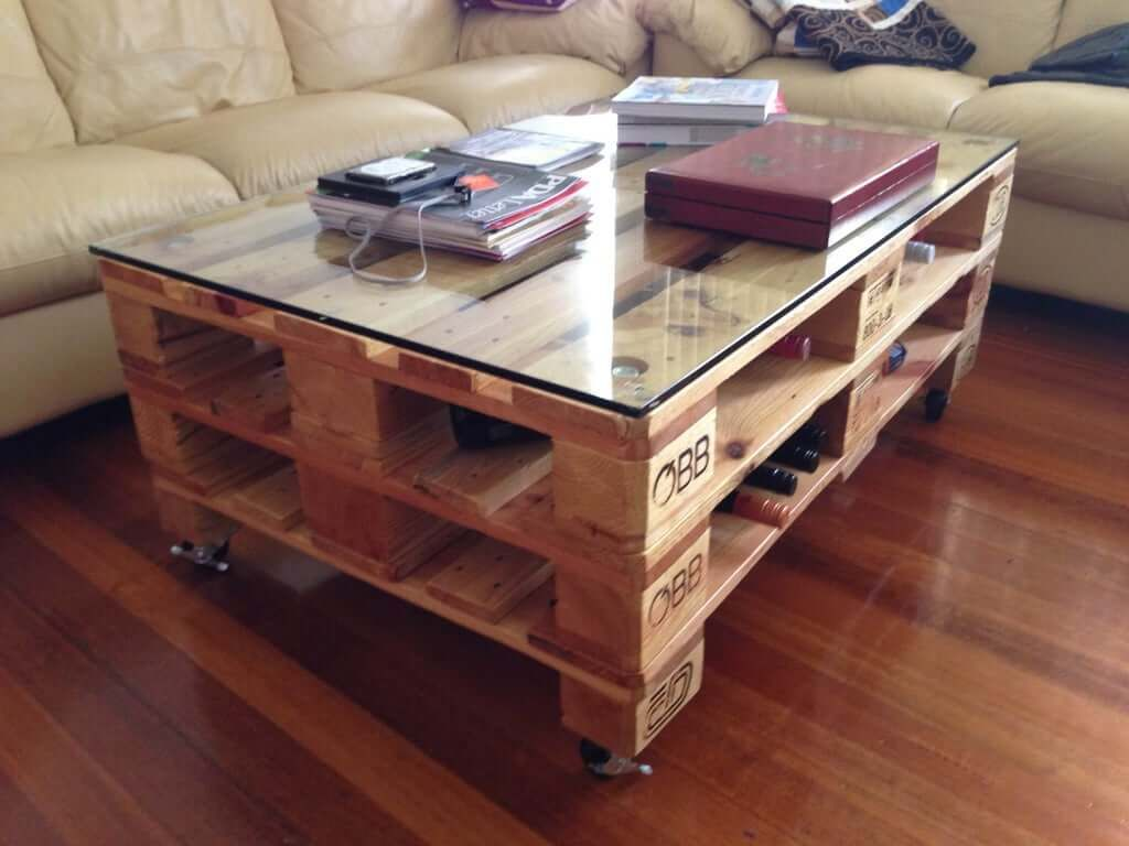 Industrial Style Pallet Coffee Table With Glass Top
