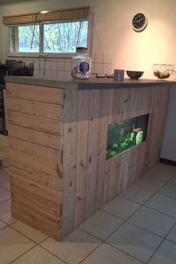 Integrated Aquarium Pallet Bar With Wax Concrete Counter