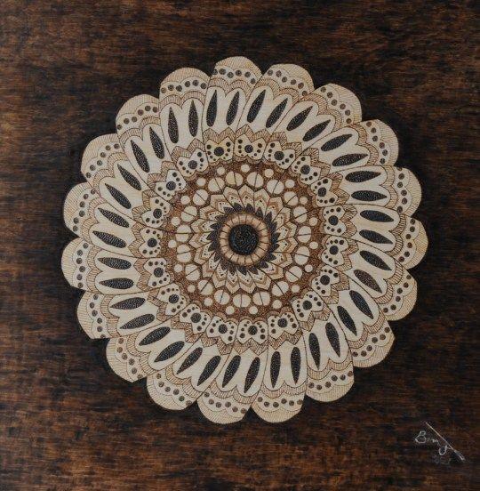 Mandala Flower Pyrography