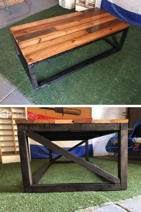 Pallet Coffee Table With Black Frame