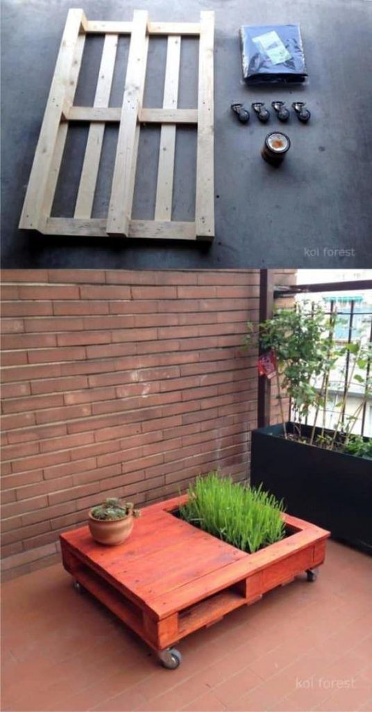 Pallet Coffee Table With Mini Garden