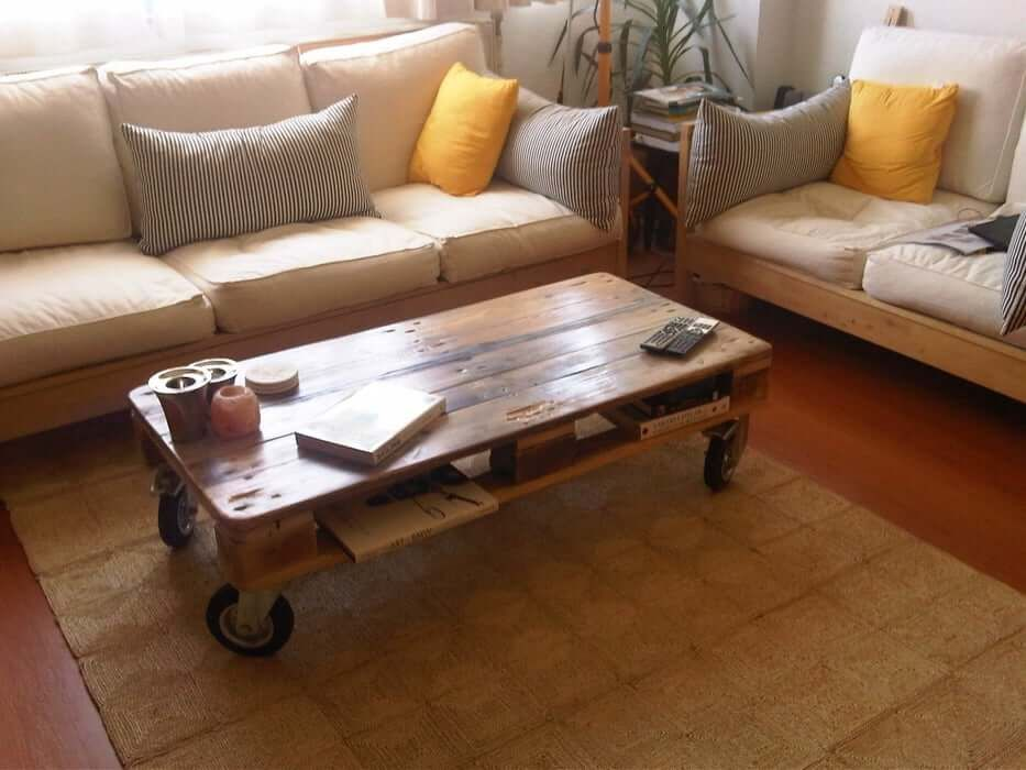 Pallet Coffee Table With Wheels From Reclaimed Wood