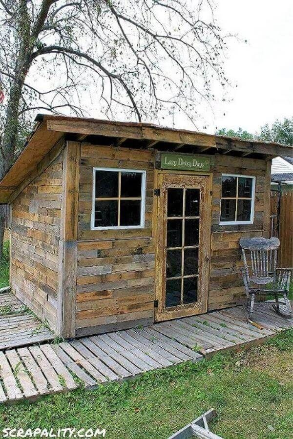 Pallet Garden Shed Potting Old Windows And Tin Cans