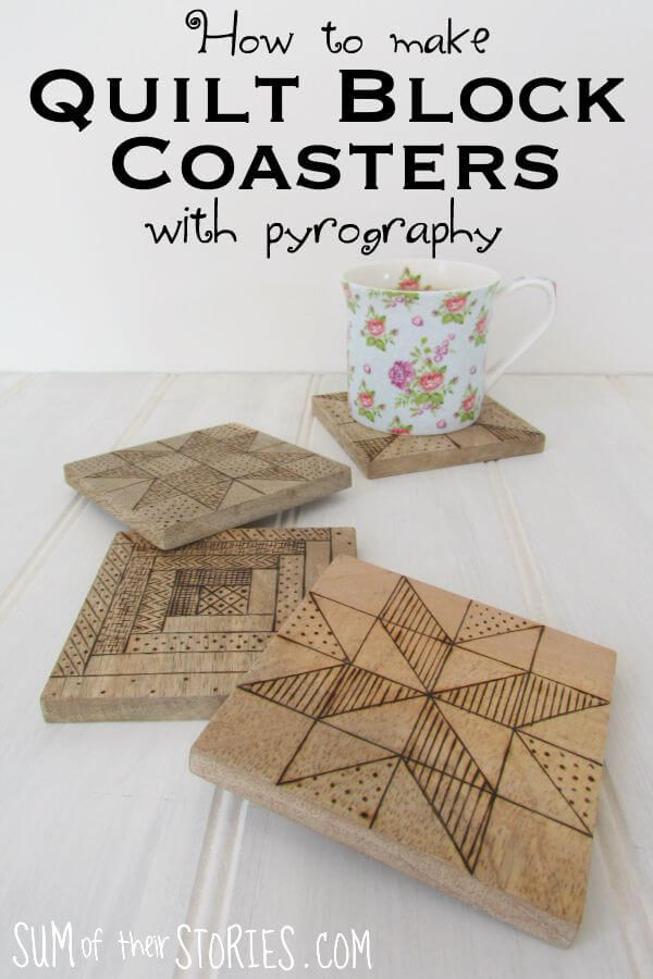 Quilt Block Wooden Coasters With Pyrography