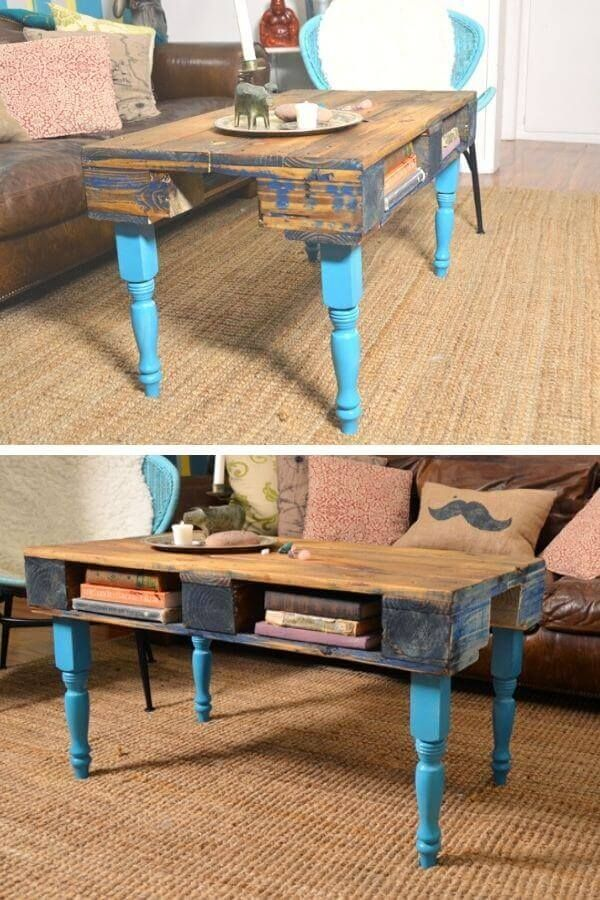 Retro Pallet Coffee Table With Blue Legs