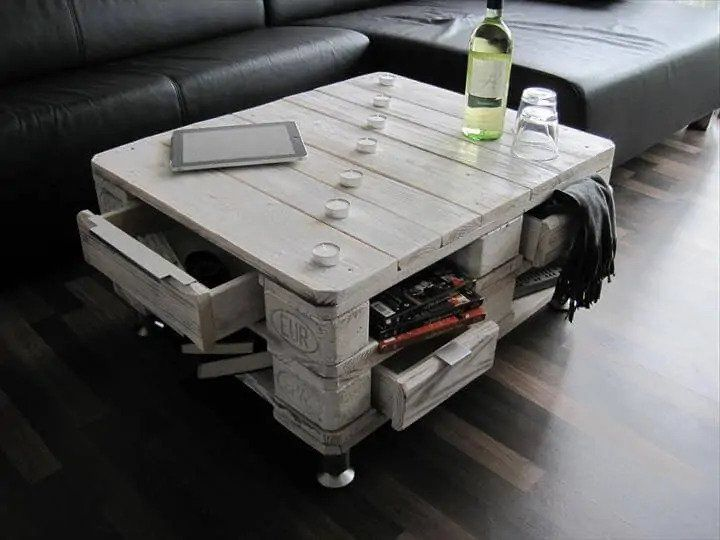 Vintage Pallet Coffee Table with Drawers