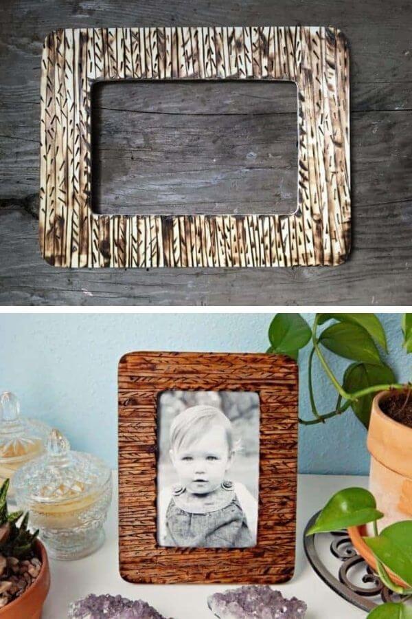 Wood Burned DIY Picture Frame