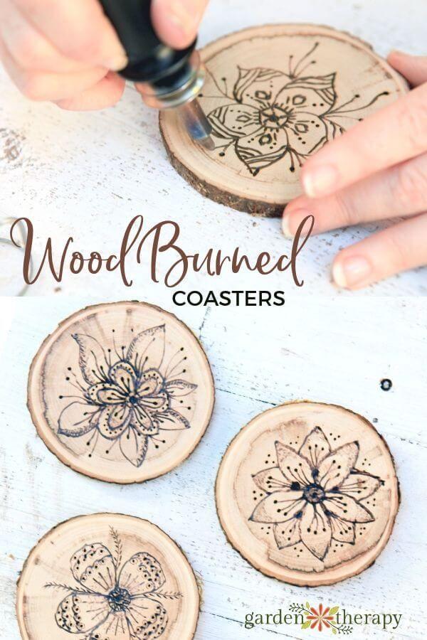 Wood Burned Floral Coasters