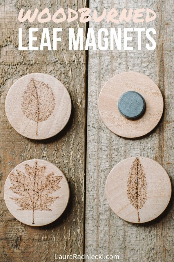 Wood Burned Leaf Magnets