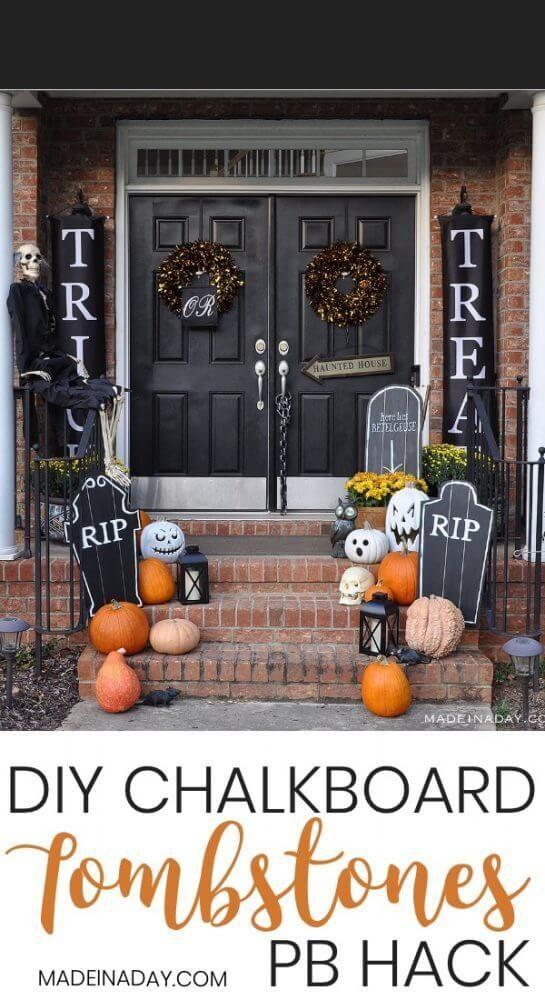 Halloween Chalkboard Tombstones