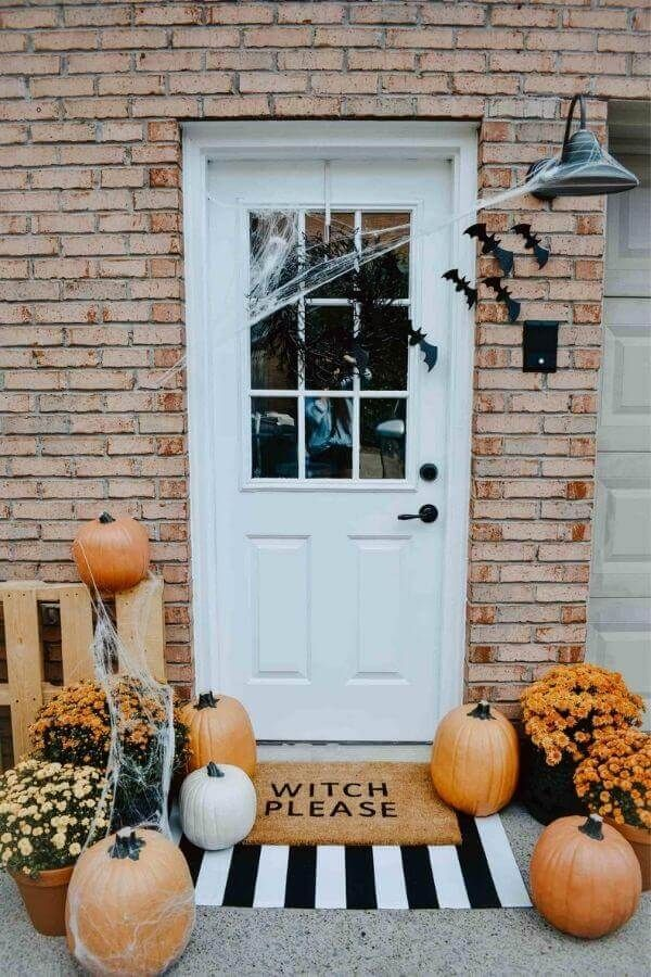 Halloween Door Mat And Front Porch