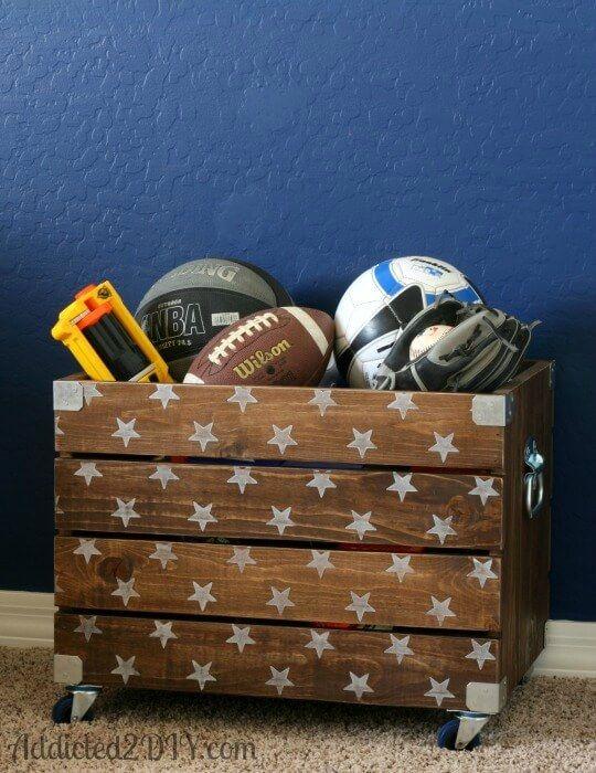 DIY Industrial Wood Toy Crate