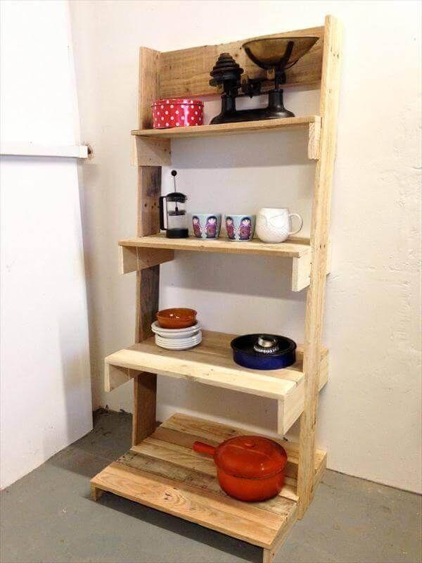 DIY Pallet Ladder Shelves