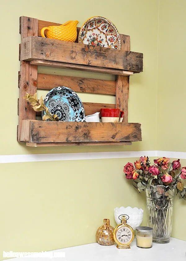 DIY Pallet Shelf Rustic Home
