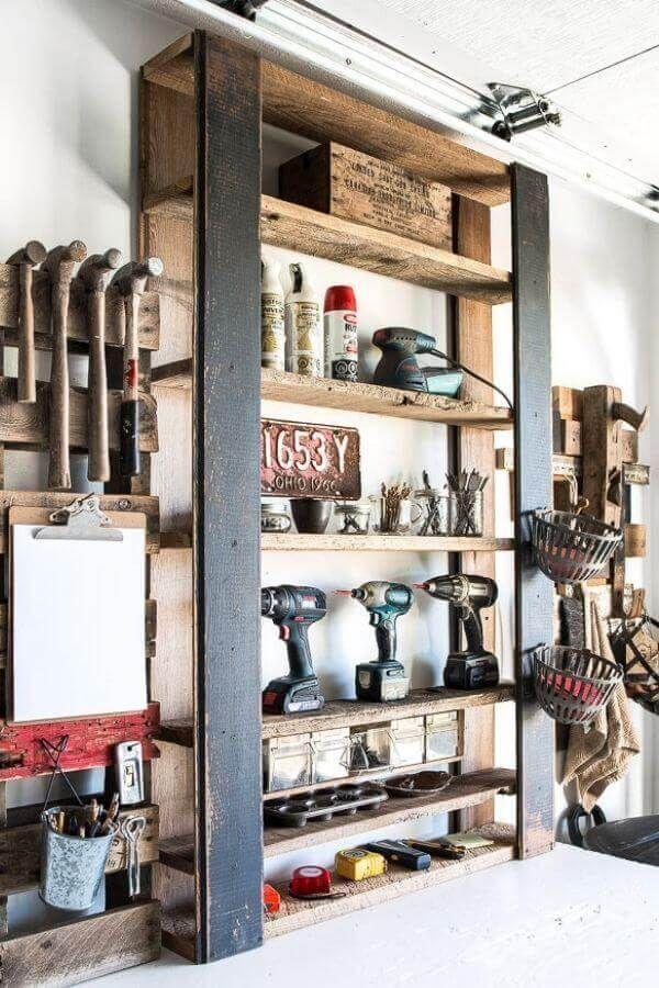 DIY Pallet Tool Shelf
