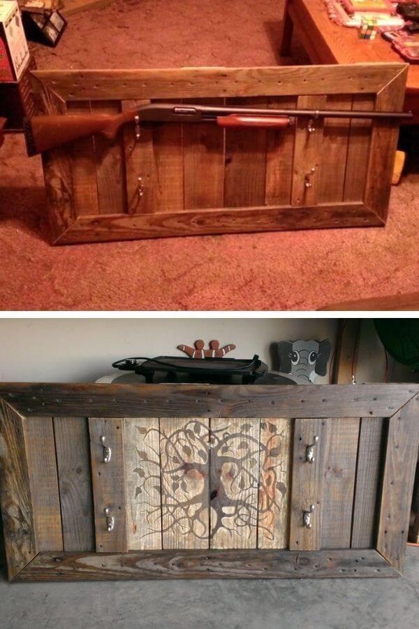 Reclaimed Pallet Gun Shelf