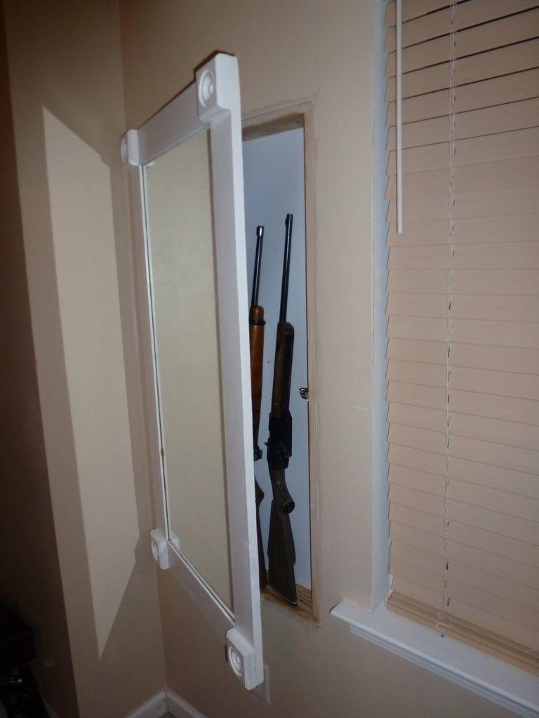 Wall Gun Cabinet With Hidden Keypad