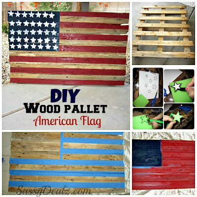 American Flag Made Out Of A Wood Pallet