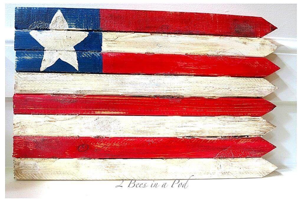 DIY 1-Star Wooden American Flag