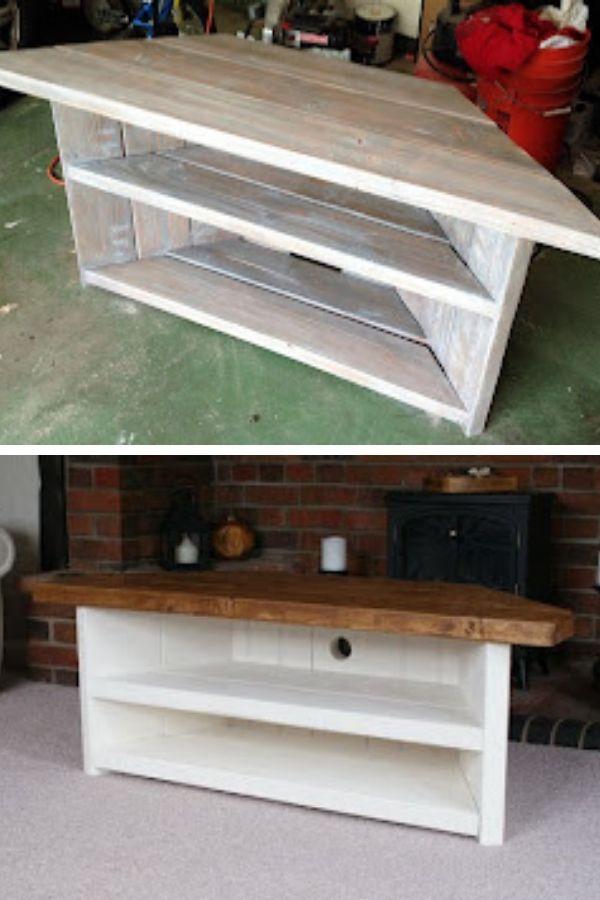 DIY Rustic Corner TV Stand