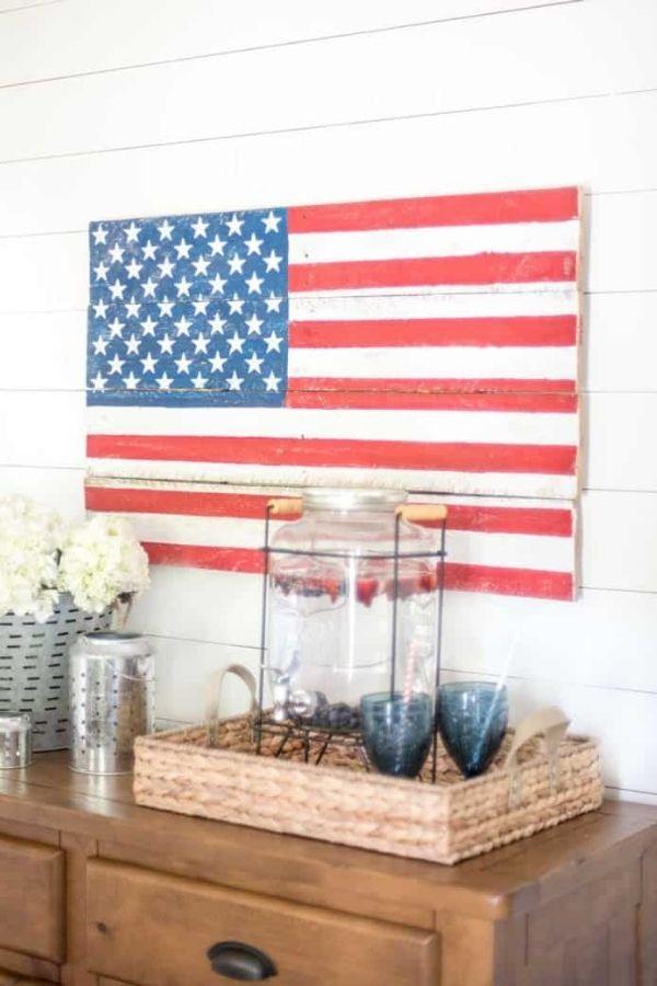 DIY Rustic Pallet Wood American Flag By Nina Hendrick