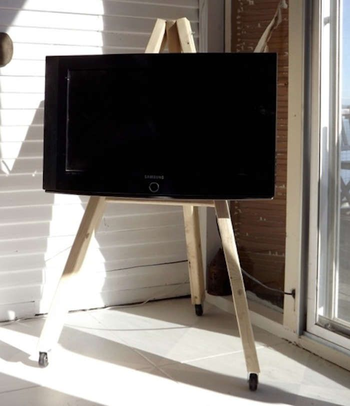 Easel On Wheels TV Display